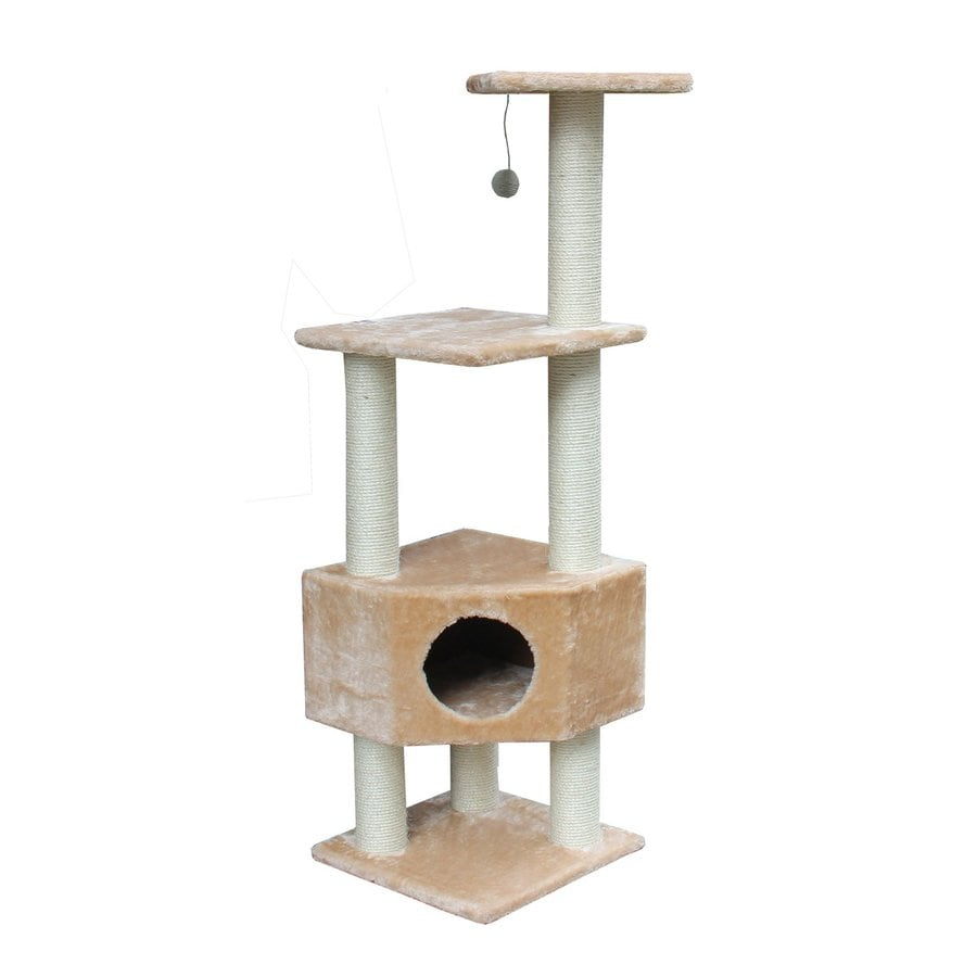 kitty mansions Houston 51-in Brown Faux Fur Cat Tree