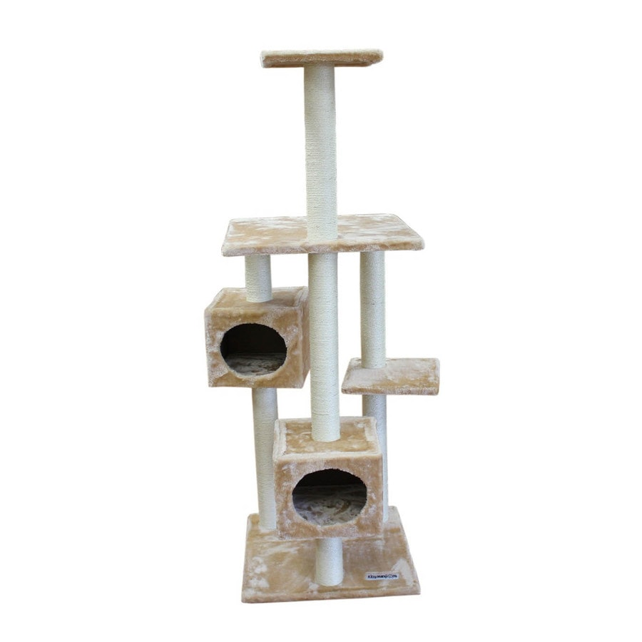 kitty mansions Manhattan 66-in Brown Faux Fur Cat Tree