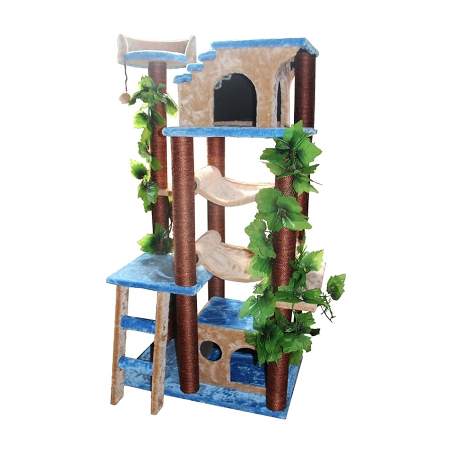 kitty mansions Mini Amazon 50-in Multiple Colors/Finishes Faux Fur Cat Tree