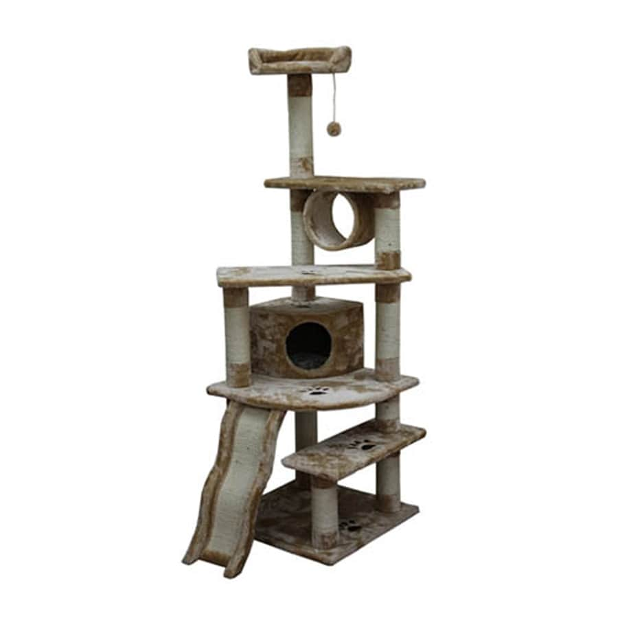kitty mansions Shanghai 71-in Off-White Faux Fur Cat Tree