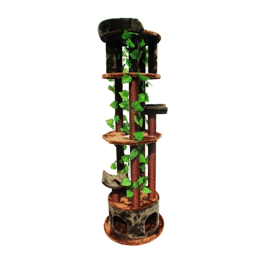 Kitty Mansions Tasmania 75 In Brown Faux Fur Cat Tree At