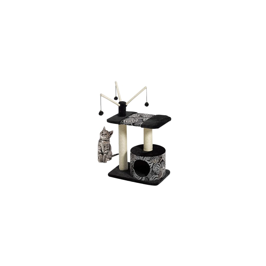midwest pets Catitude 37-in Black Faux Fur 3-Level Cat Tower