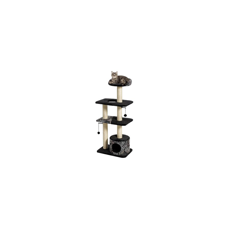 midwest pets Catitude 51-in Black Faux Fur 4-Level Cat Tower