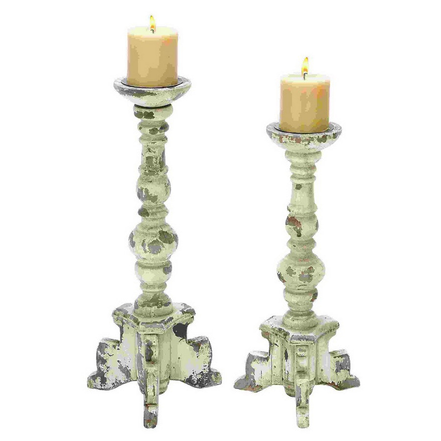 Woodland Imports 2 Candle White Wood Pillar Any Occasion Candle Holder