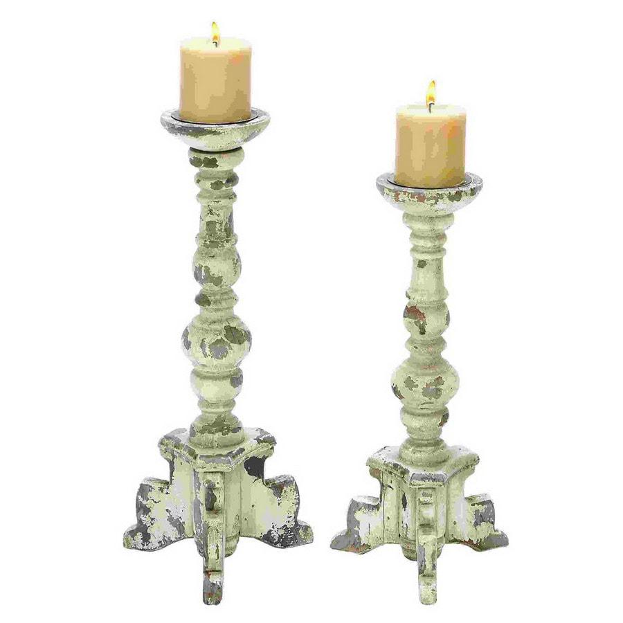 Shop Woodland Imports 2 Candle White Wood Pillar Any