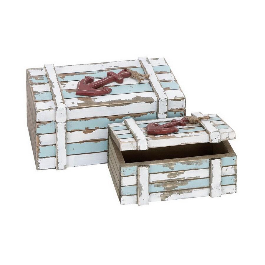 Woodland Imports Varnished Wood Box Tabletop Decoration