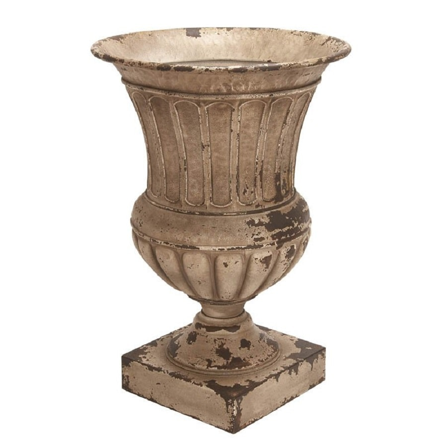 shop woodland imports 18-in x 26-in rustic brown metal urn at