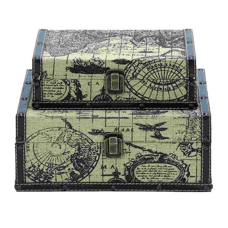 Woodland Imports Set of 2 Wood Faux Book Boxes
