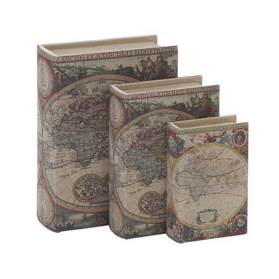 Woodland Imports Set of 3 Fabric and Wood Library Storage Book Boxes