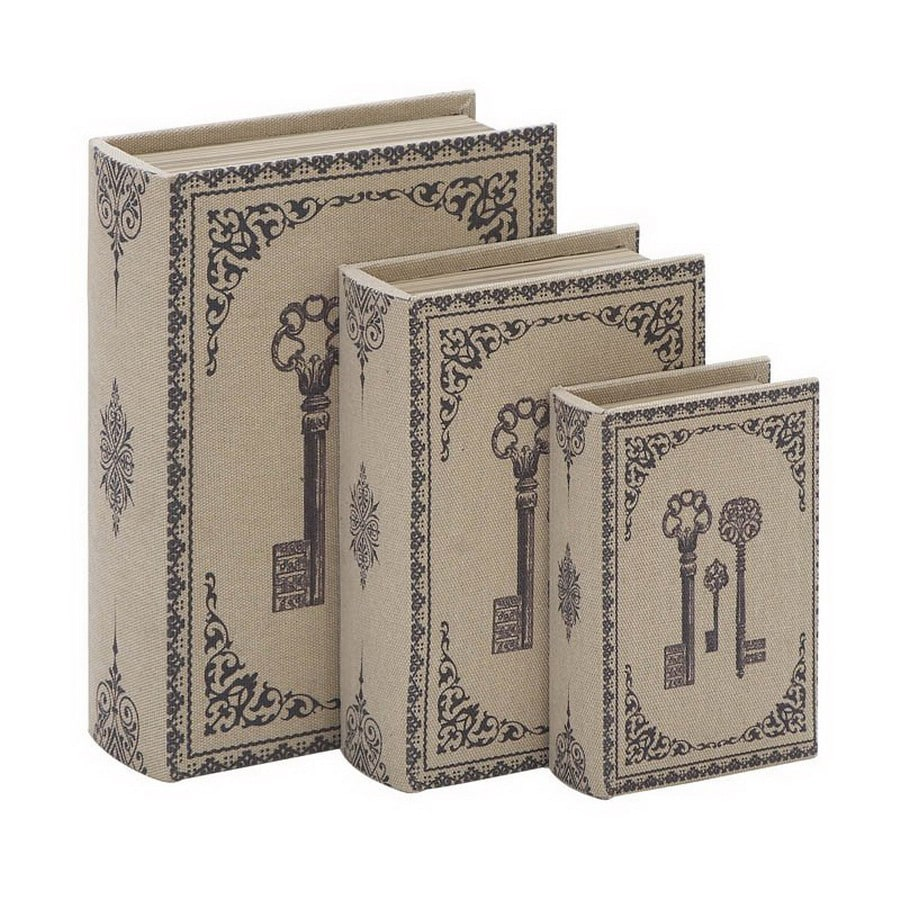 Woodland Imports Set of 3 Library Storage Wood Book Boxes with Fabric Lining Box