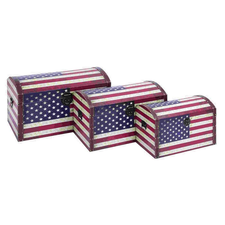 Ordinaire Woodland Imports Set Of 3 Rectangular American Flag Storage Trunk Boxes