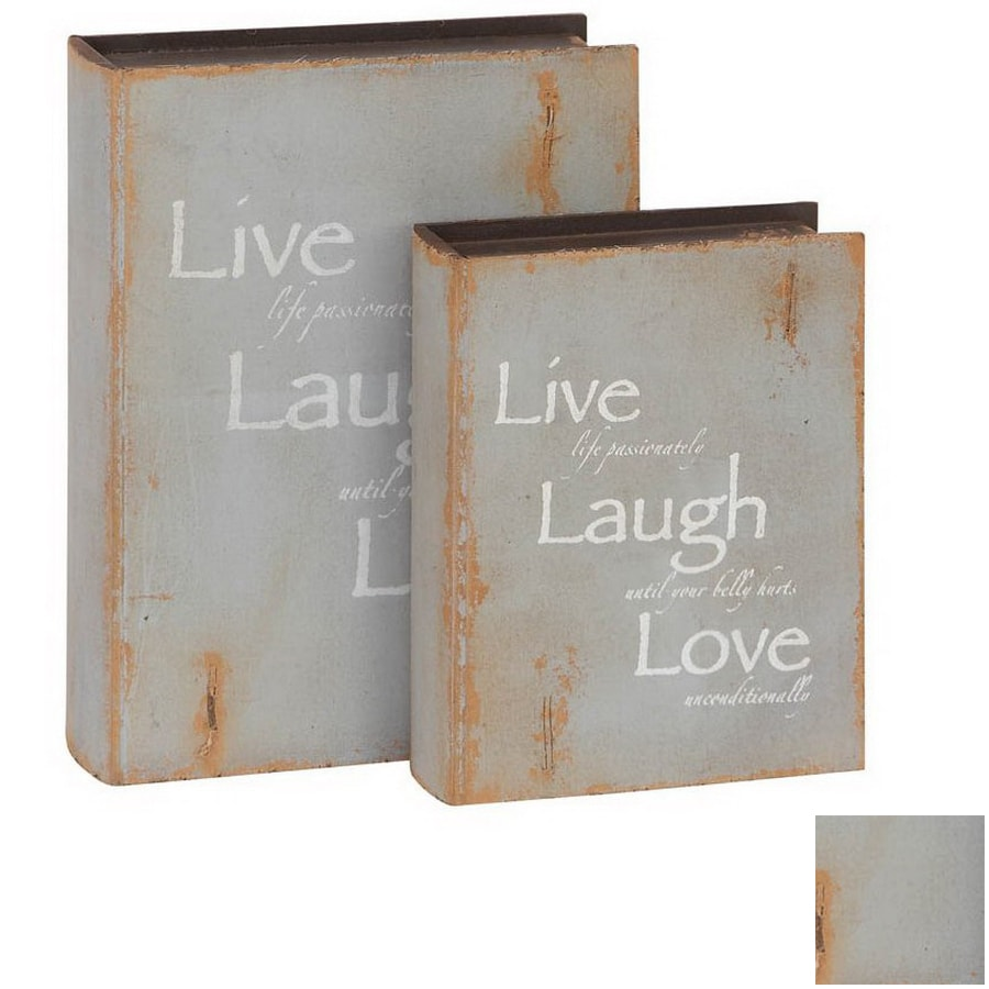 Woodland Imports Set of 2 Gray Rectangular Wood Library Storage Book Boxes  sc 1 st  Loweu0027s & Shop Woodland Imports Set of 2 Gray Rectangular Wood Library Storage ...