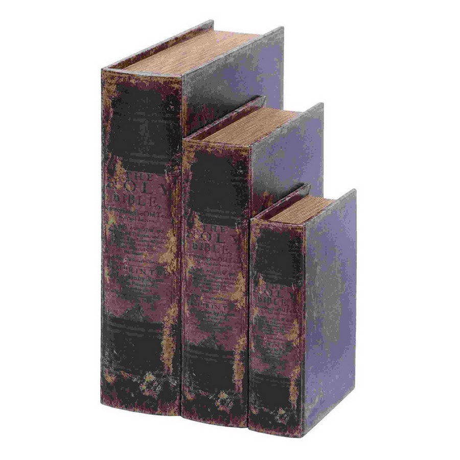Woodland Imports Set of 3 Wood Holy Bible Faux Book Boxes