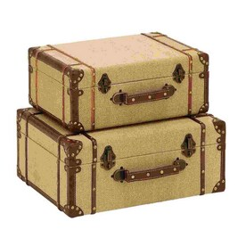 Woodland Imports Set Of 2 Old Look Burlap Wood Storage Trunks