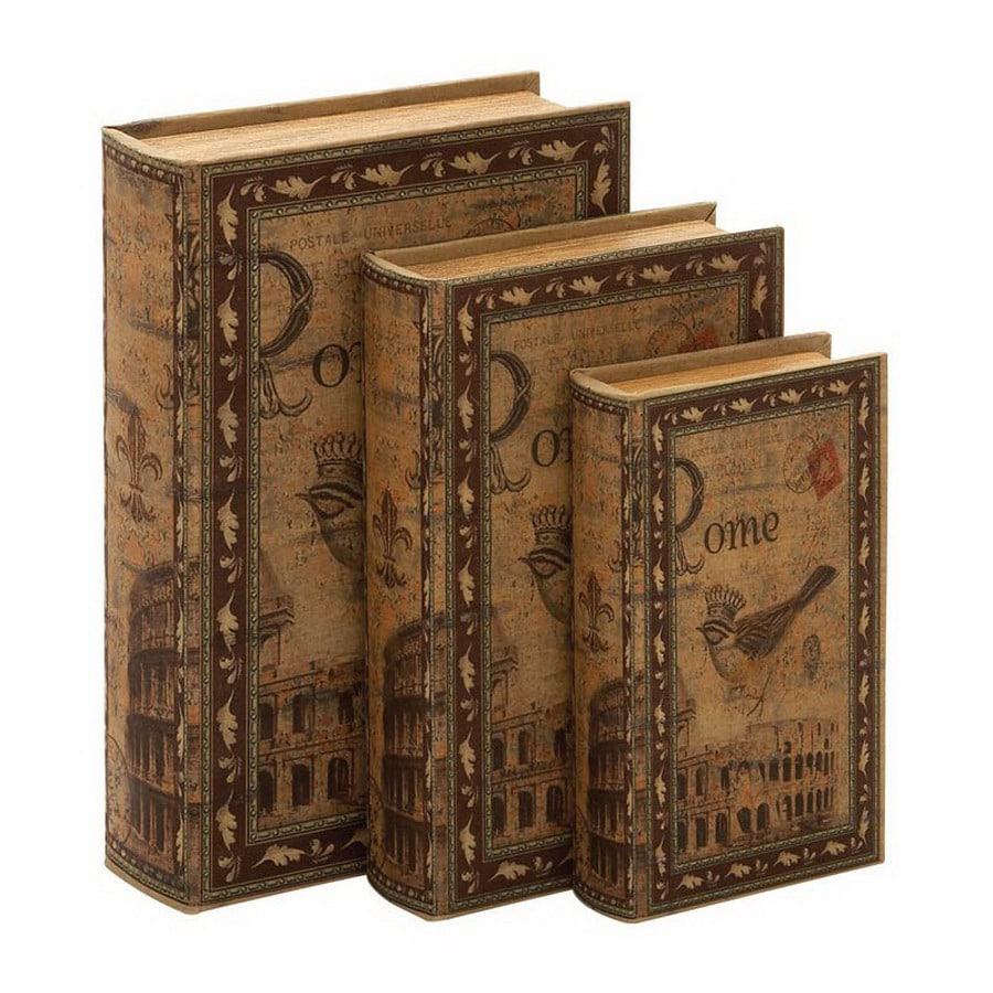 Woodland Imports Set of 3 Wood Library Storage Book Boxes