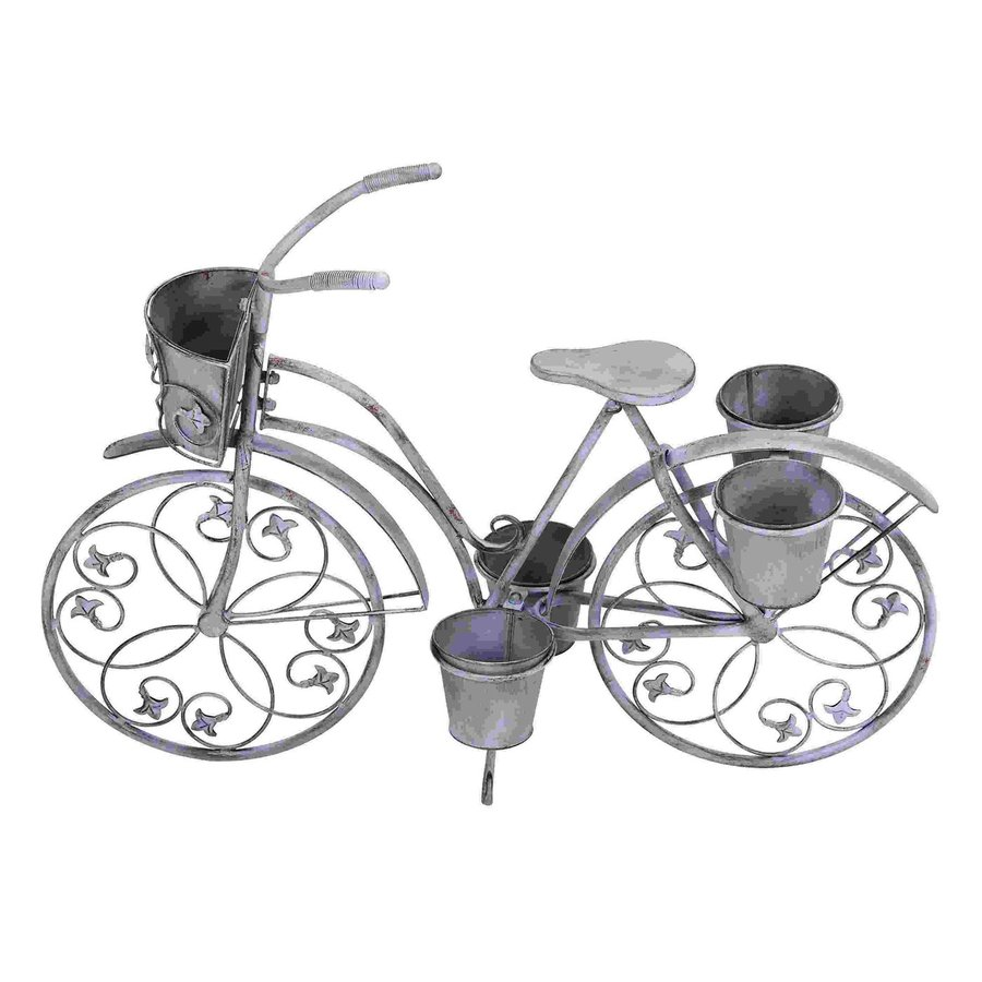 Woodland Imports 36-in x 26-in Grey Metal Bicycle Planter
