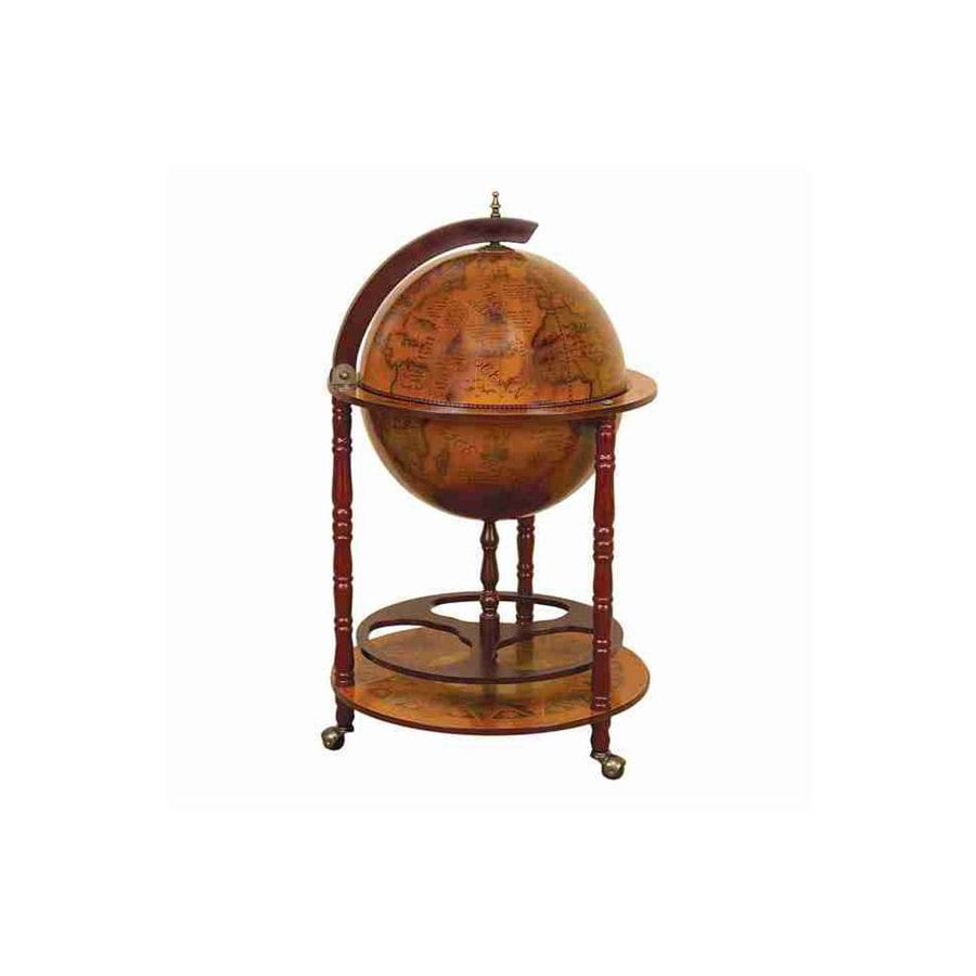 Woodland Imports Round Wood World Globe Bar
