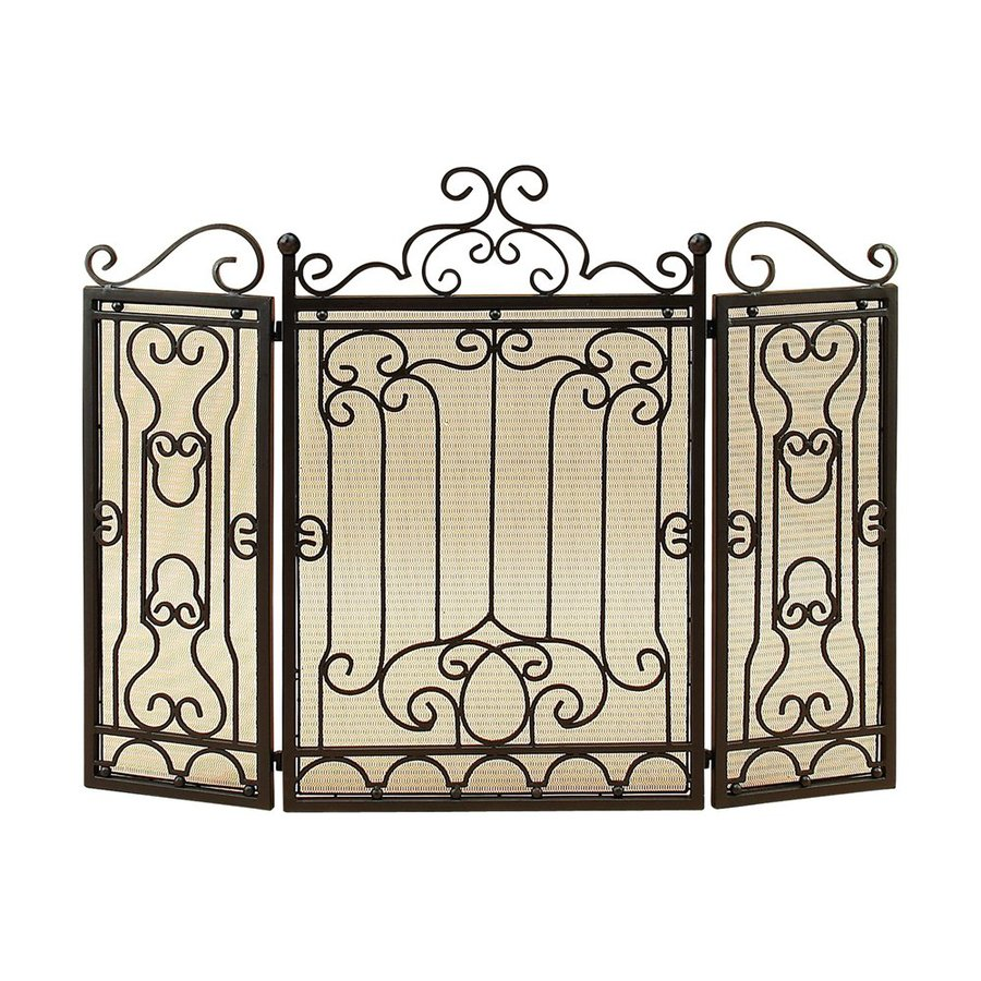 Shop woodland imports 48-in black 3-panel scroll fireplace screen at Lowes.com