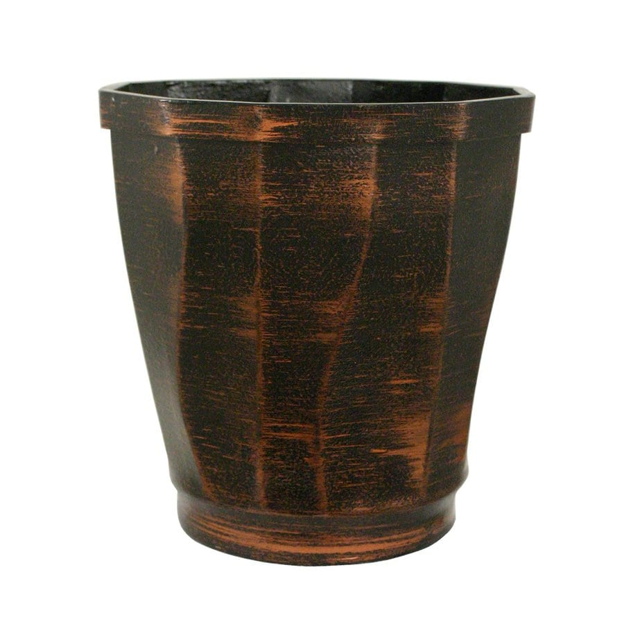 PoliVaz 12.5-in x 13.5-in Black Copperworks Resin Planter