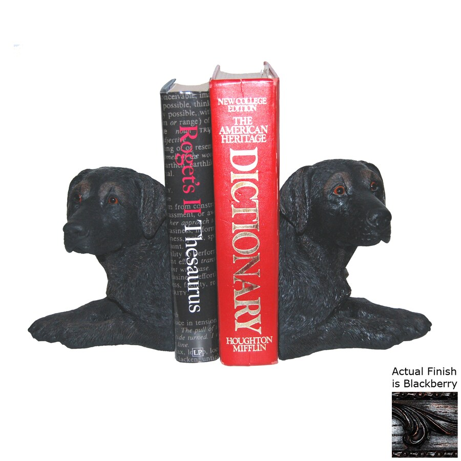 Hickory Manor House Set of 2 Black Lab Blackberry Resin Bookends