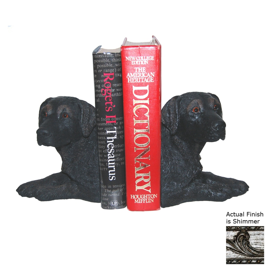 Hickory Manor House Set of 2 Black Lab Shimmer Resin Bookends