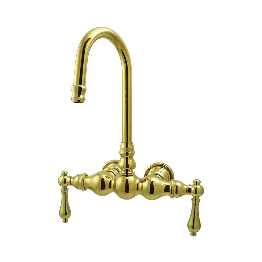Elements of Design Vintage Polished Brass 2-Handle-Handle Fixed Clawfoot Tub Filler Bathtub Faucet