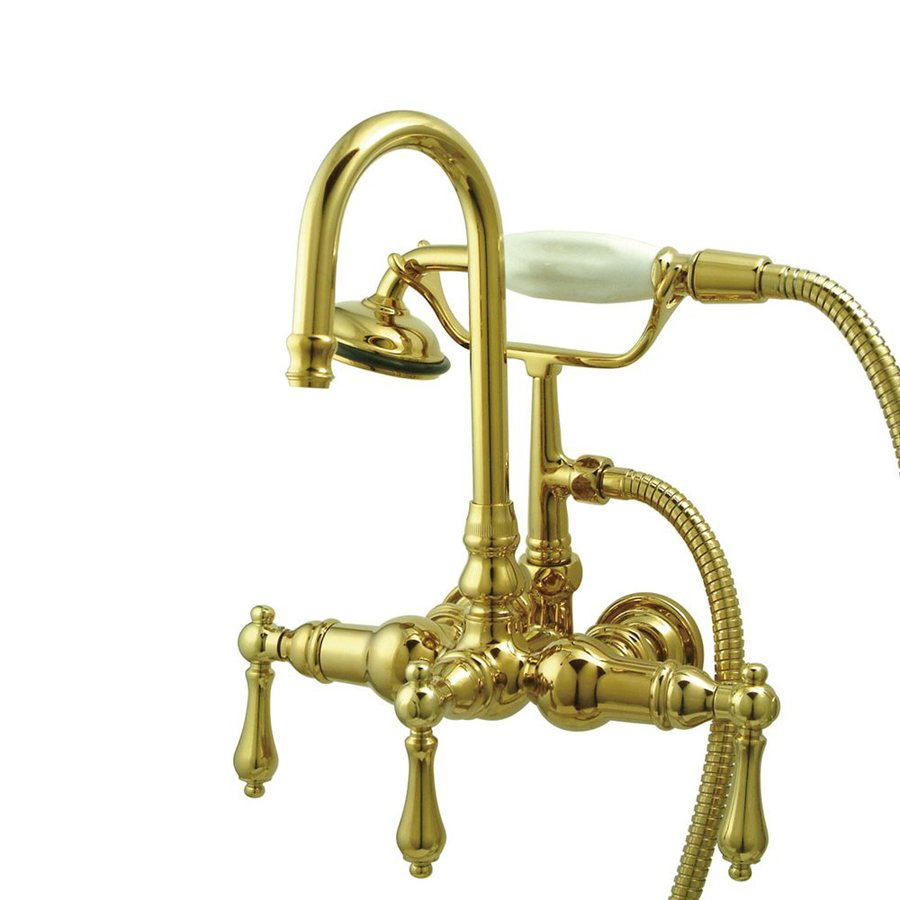Elements of Design Vintage Polished Brass 2-Handle Bathtub and Shower Faucet Trim Kit with Handheld Showerhead