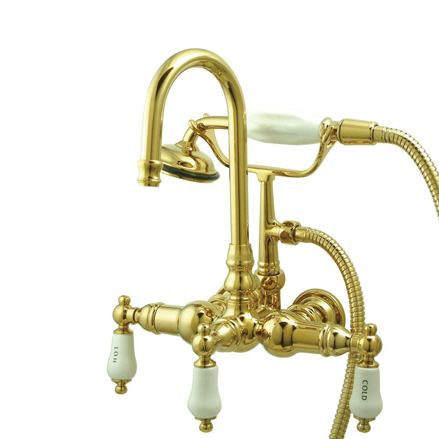 Elements of Design Vintage Polished Brass 2-Handle Bathtub and Shower Faucet Trim Kit with Handheld Showerhead
