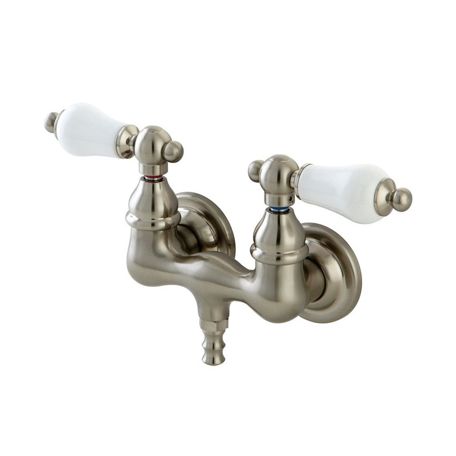 Elements of Design Vintage Satin Nickel 2-Handle-Handle Fixed Clawfoot Tub Filler Bathtub Faucet