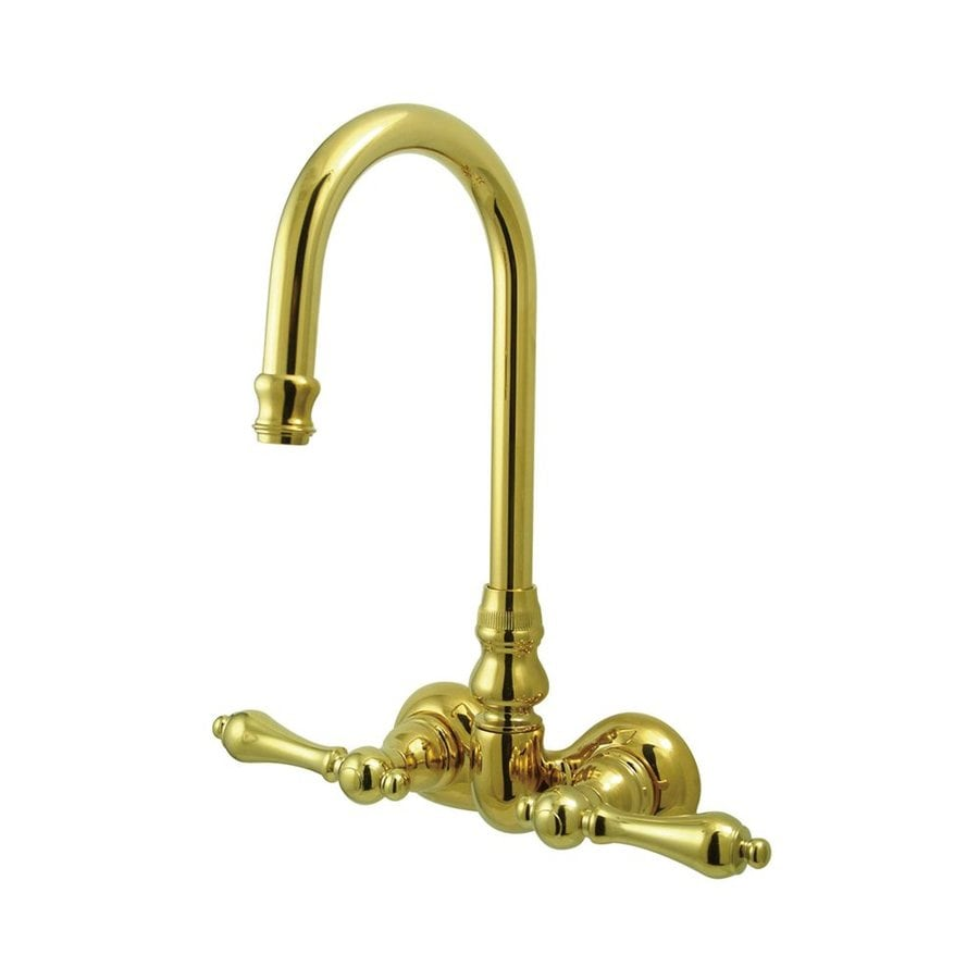 Elements of Design Hot Springs Polished Brass 2-Handle-Handle Fixed Clawfoot Tub Filler Bathtub Faucet