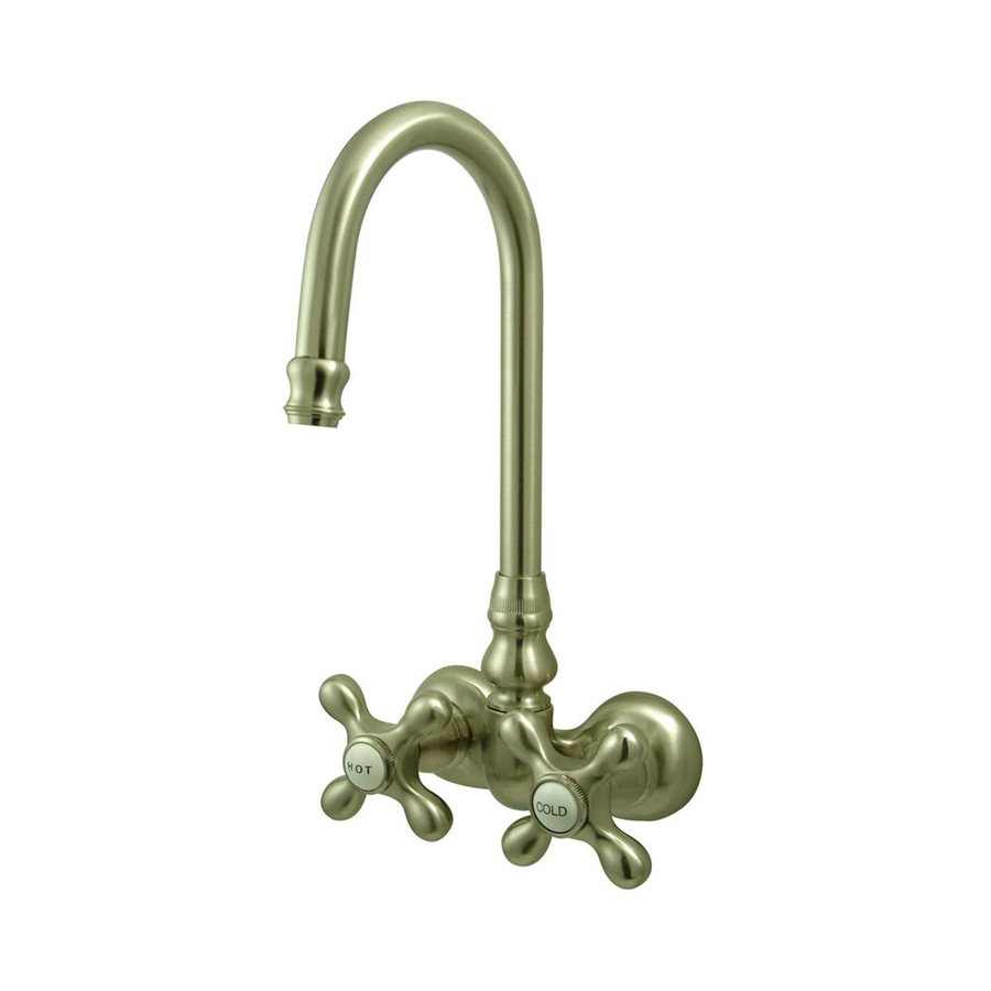 Elements of Design Hot Springs Satin Nickel 2-Handle Fixed Wall Mount Bathtub Faucet