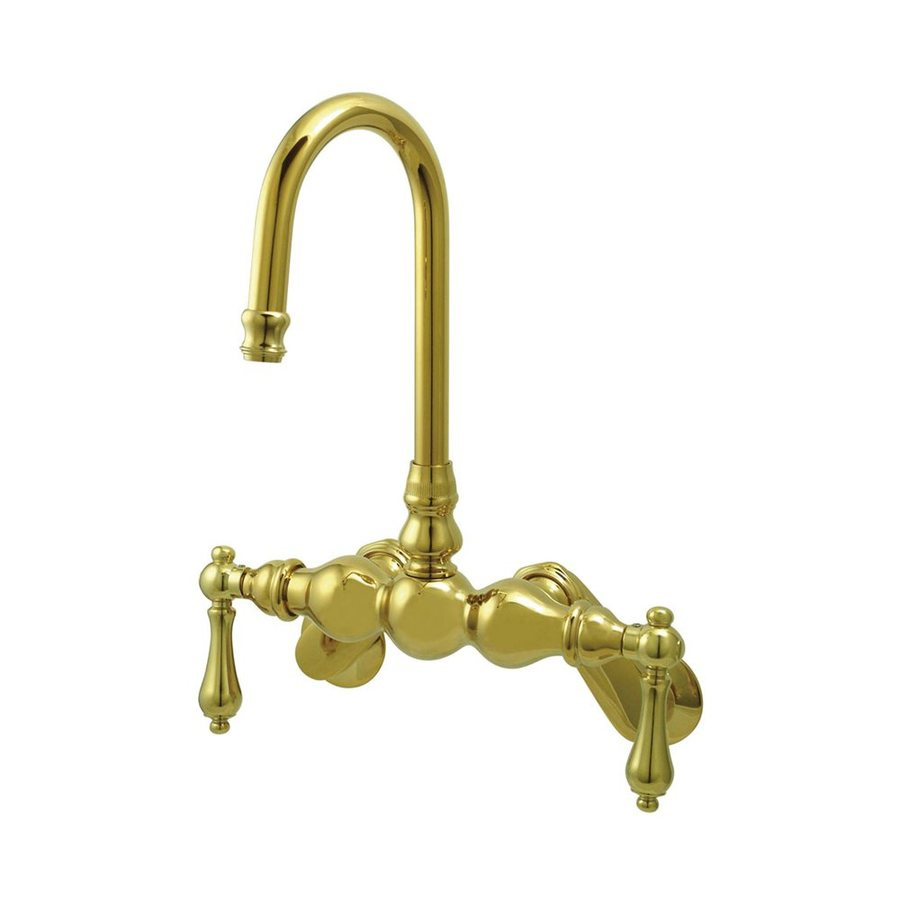 Elements of Design Hot Springs Polished Brass 2-Handle Adjustable Freestanding/Wall Mount Bathtub Faucet
