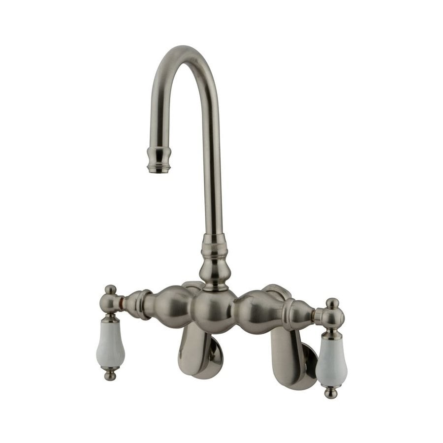 Elements of Design Hot Springs Satin Nickel 2-Handle Adjustable Freestanding/Wall Mount Bathtub Faucet