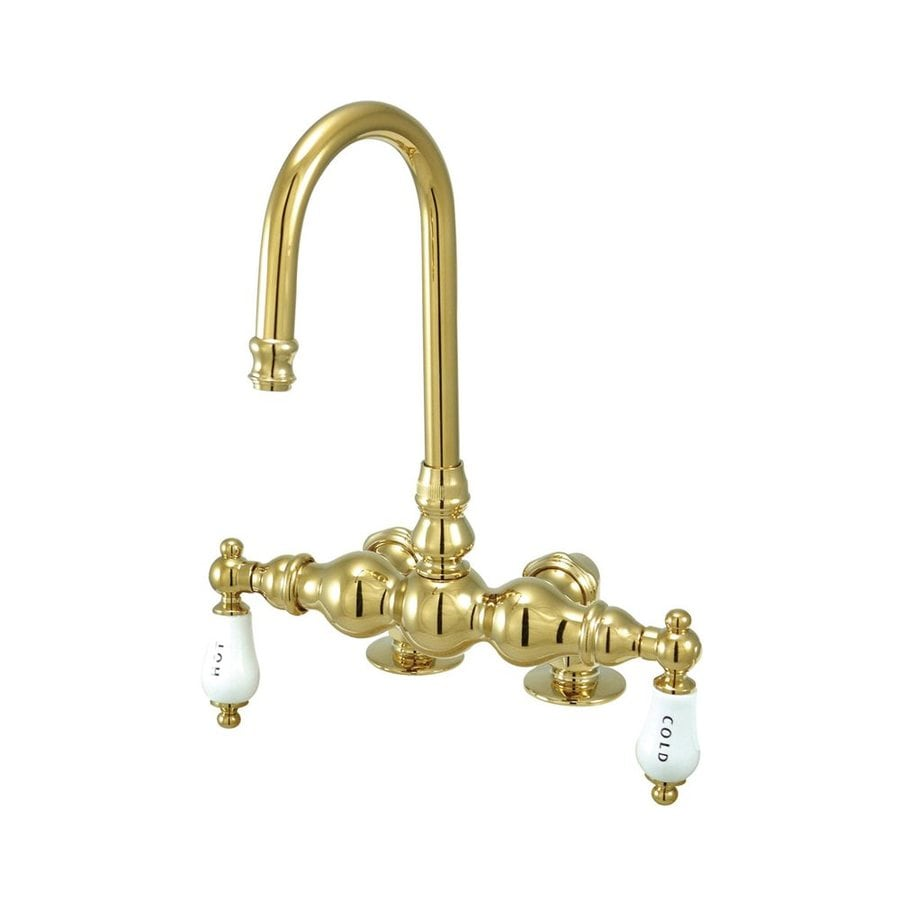 Elements of Design Hot Springs Polished Brass 2-Handle Freestanding/Wall Mount Bathtub Faucet