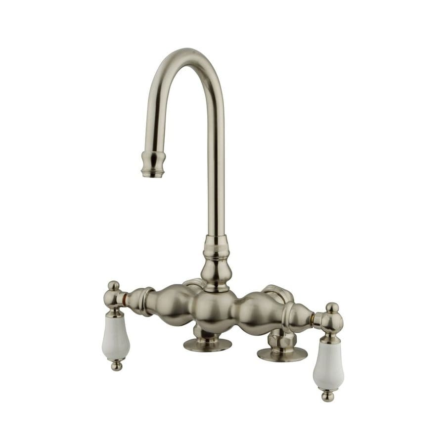 Elements of Design Hot Springs Satin Nickel 2-Handle-Handle Fixed Clawfoot Tub Filler Bathtub Faucet
