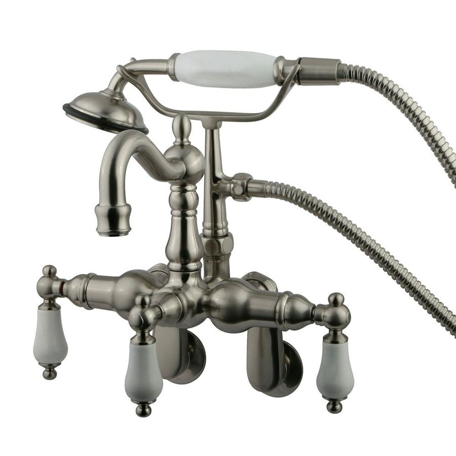 Elements of Design Hot Springs Satin Nickel 3-Handle Fixed Wall Mount Bathtub Faucet