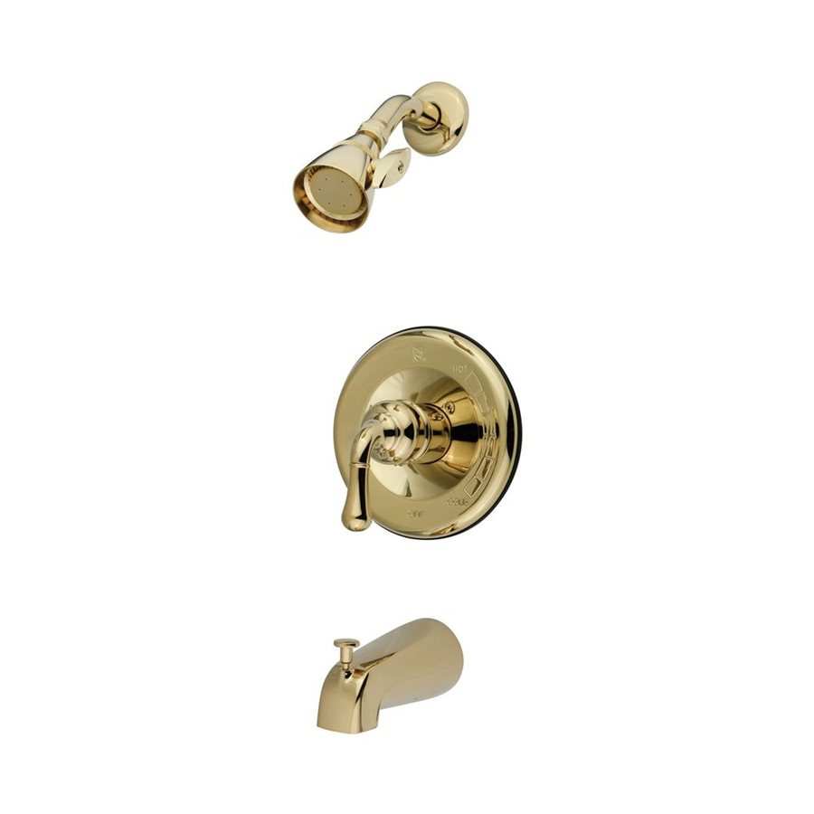 Elements of Design Magellan Polished Brass 1-Handle Bathtub and Shower Faucet with Single Function Showerhead