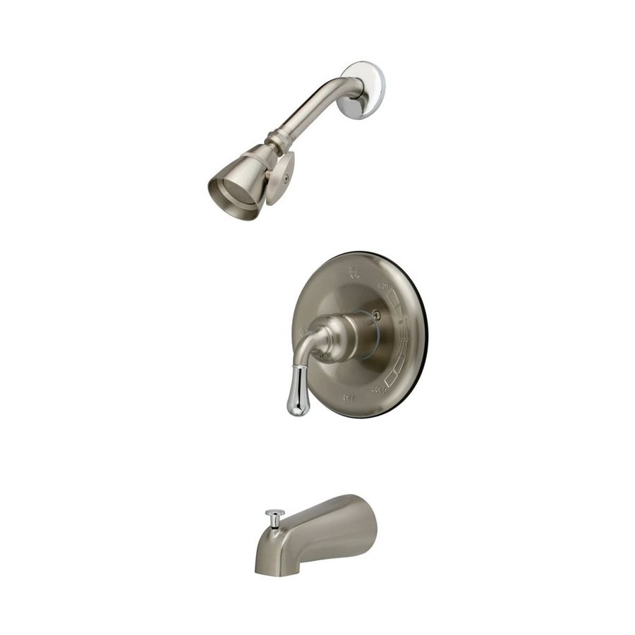Elements of Design Magellan Satin Nickel/Chrome 1-Handle Bathtub and Shower Faucet with Single Function Showerhead