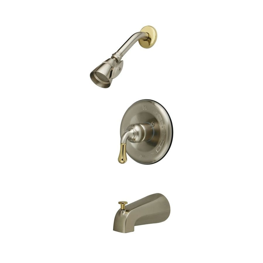 Elements of Design Magellan Satin Nickel/Polished Brass 1-Handle Bathtub and Shower Faucet with Single Function Showerhead