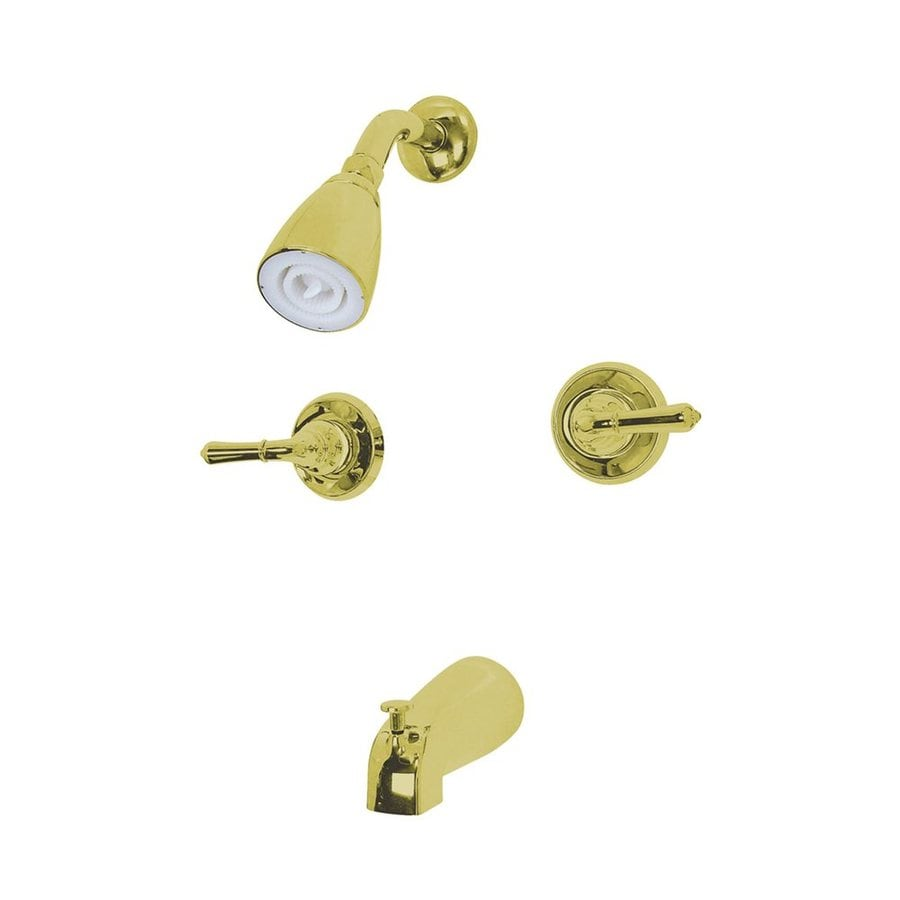 Elements of Design Magellan Polished Brass 2-Handle Bathtub and Shower Faucet Trim Kit with Single Function Showerhead