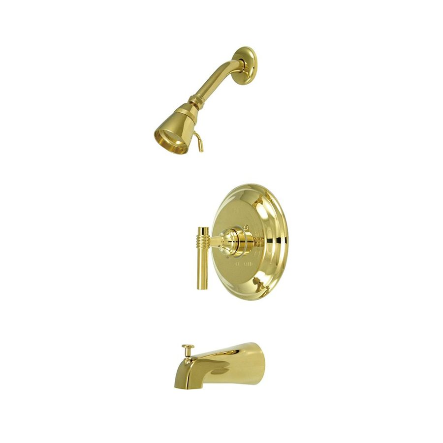 Elements of Design Milano Polished Brass 1-Handle Bathtub and Shower Faucet with Single Function Showerhead