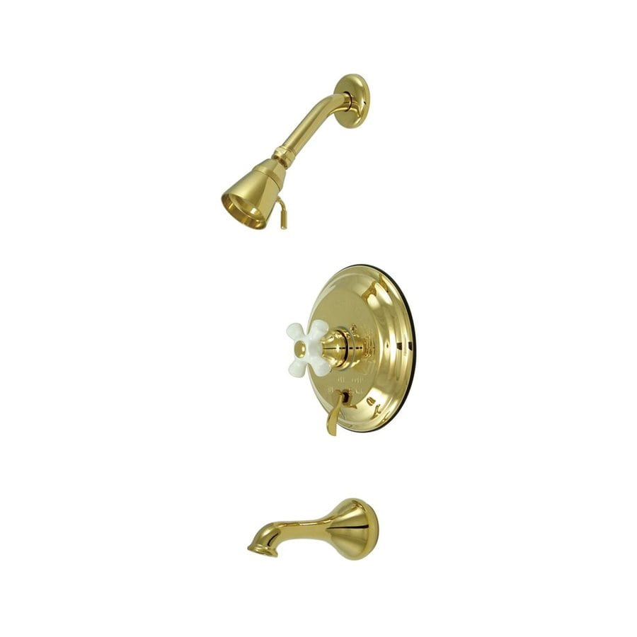 Elements of Design New Orleans Polished Brass 1-Handle Bathtub and Shower Faucet with Valve