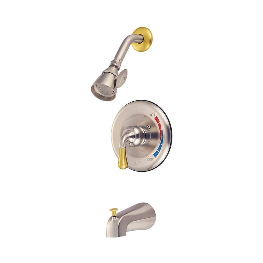 Elements of Design St. Charles Satin Nickel/Polished Brass 1-Handle Bathtub and Shower Faucet Trim Kit with Single Function Showerhead