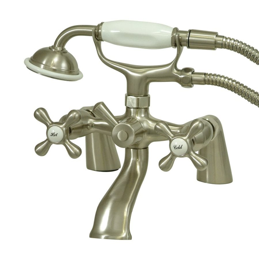 Elements of Design Charleston Satin Nickel 2-Handle Bathtub and Shower Faucet Trim Kit with Handheld Showerhead