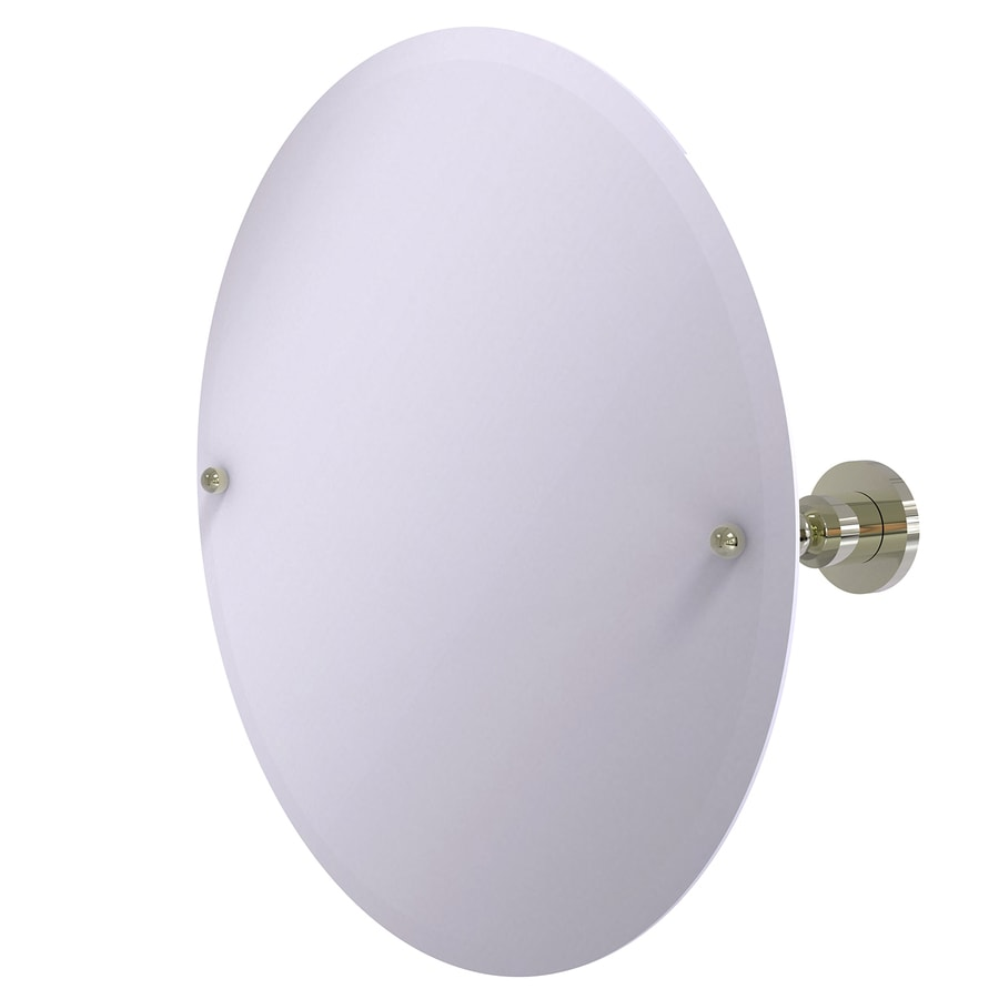 Allied Brass Astor Place 22-in W x 22-in H Round Tilting Frameless Bathroom Mirror with Polished Nickel Hardware and Beveled Edges