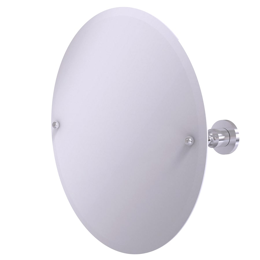 Allied Brass Astor Place 22-in W x 22-in H Round Tilting Frameless Bathroom Mirror with Satin Chrome Hardware and Beveled Edges