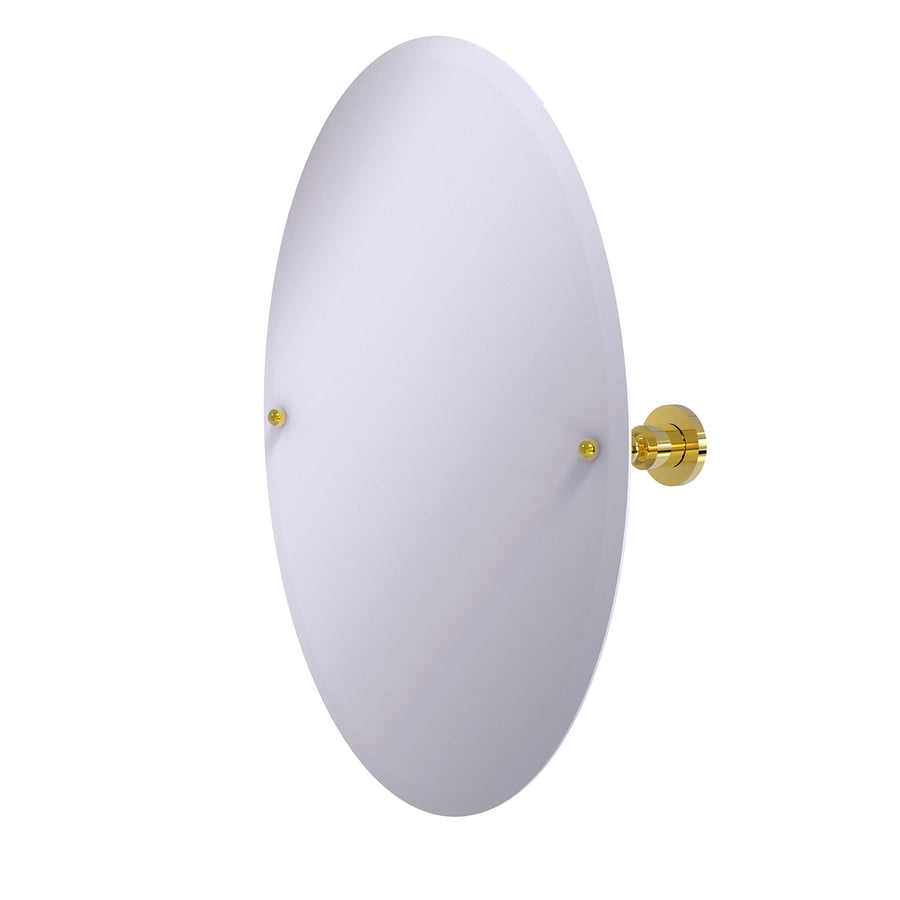 Allied Brass Astor Place 21-in W x 29-in H Oval Tilting Frameless Bathroom Mirror with Polished Brass Hardware and Beveled Edges