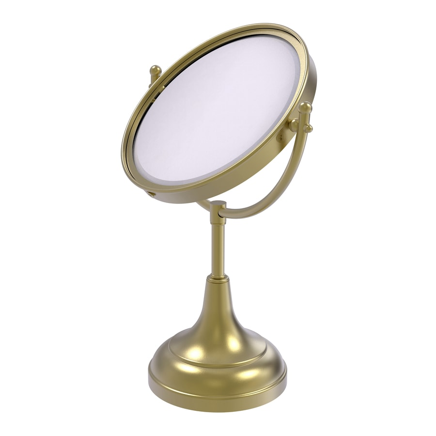 Allied Brass Satin Brass Magnifying Countertop Vanity Mirror