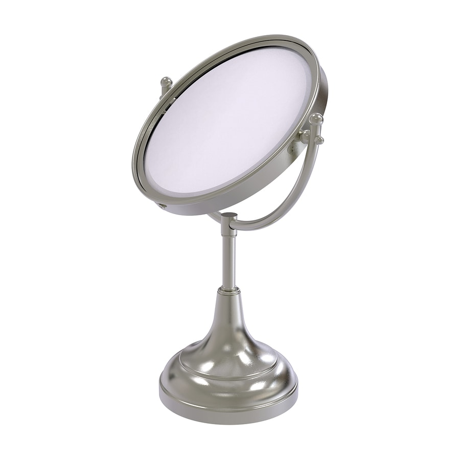 Allied Brass Nickel Brass Magnifying Countertop Vanity Mirror Cabinet Pull