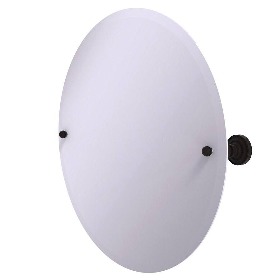 Allied Brass Dottingham 22-in W x 22-in H Round Tilting Frameless Bathroom Mirror with Oil Rubbed Bronze Hardware and Beveled Edges